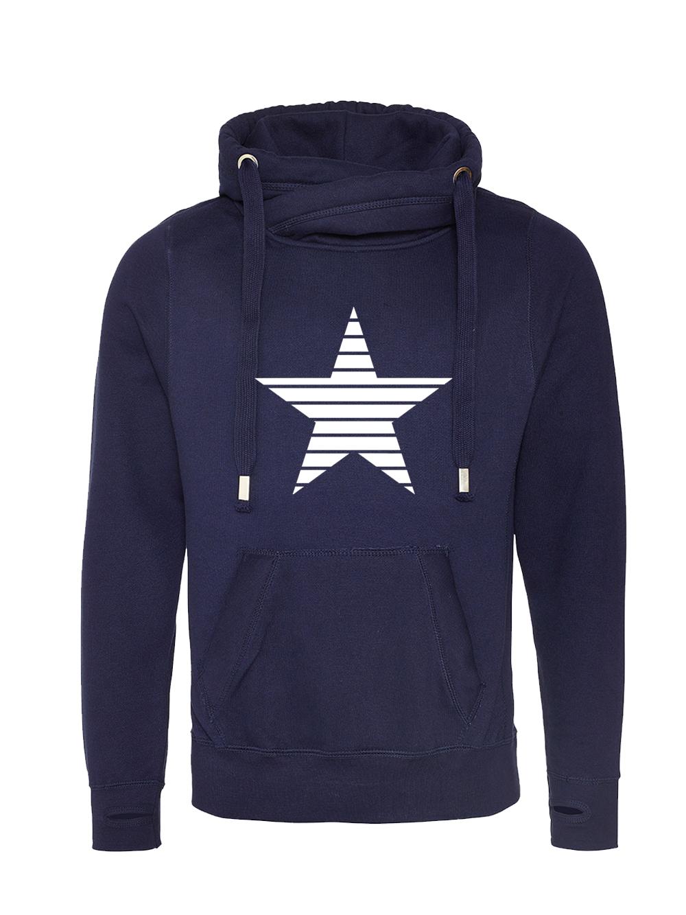 Stripe Star Cowl Neck Hooded Jumper