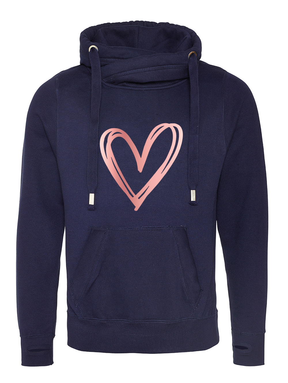 Signature Heart Cowl Neck Hooded Jumper