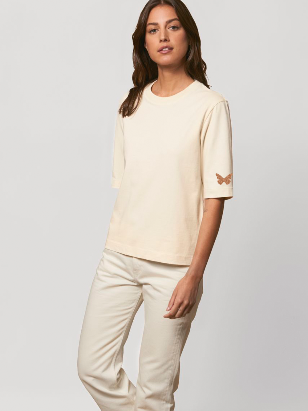 3/4 Length Sleeve Tshirt – Natural With Copper Butterflies