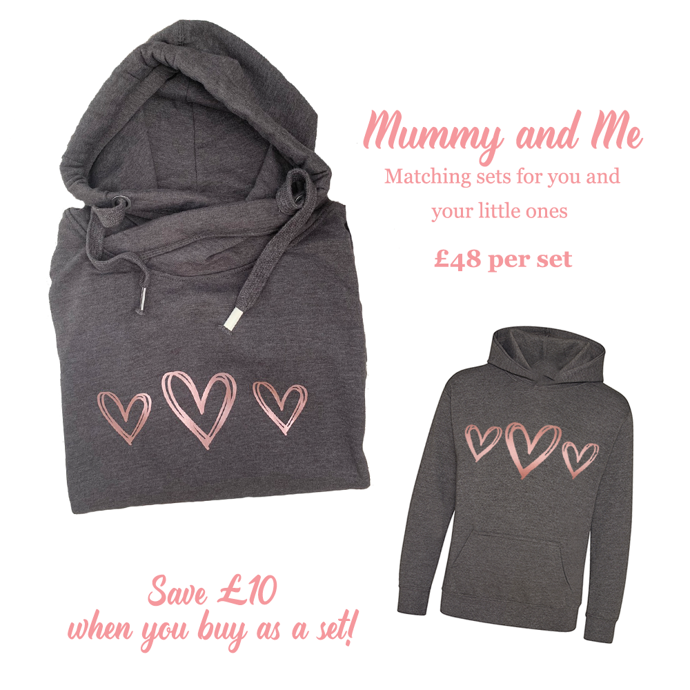 Mummy And Me Matching Set – Charcoal And Rose Gold