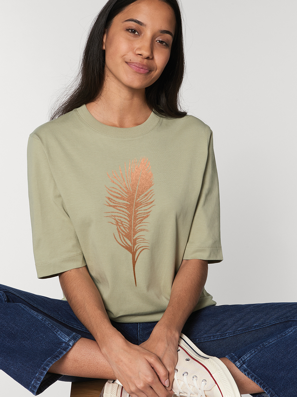 3/4 Length Sleeve Tshirt – Sage Feather